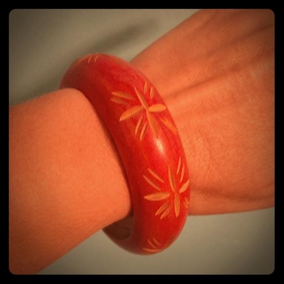 Big Wood Red Bangle Bracelet Wooden